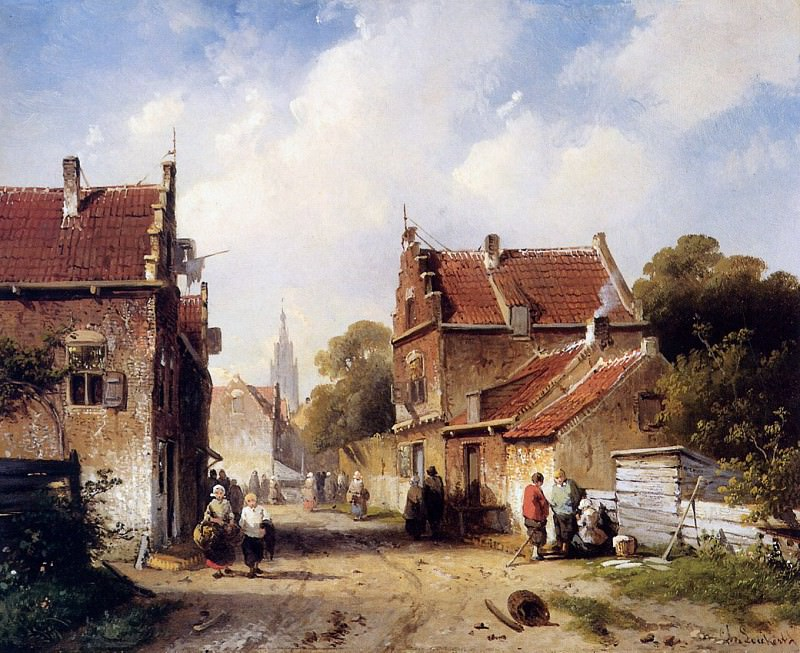 Summer view on village. Charles Henri Joseph Leickert