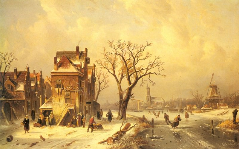 Skaters In A Frozen Winter Landscape. Charles Henri Joseph Leickert