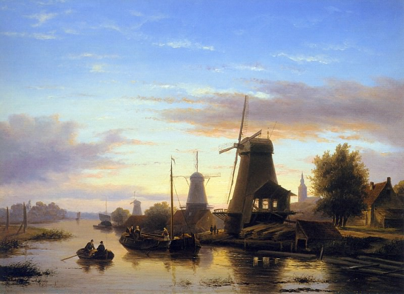 Mills at the Schie at dusk. Charles Henri Joseph Leickert