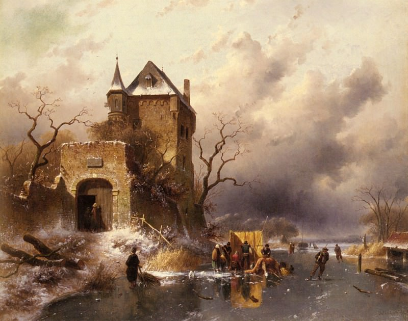 Skaters On A Frozen Lake By The Ruins Of A Castle. Charles Henri Joseph Leickert