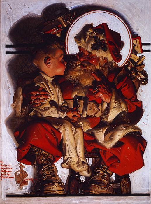 Santa& Boy. Joseph Christian Leyendecker
