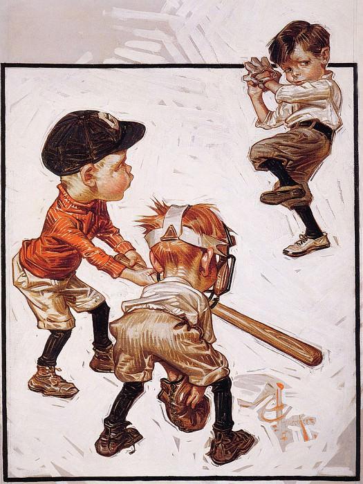 BoysPlayingBaseball. Joseph Christian Leyendecker