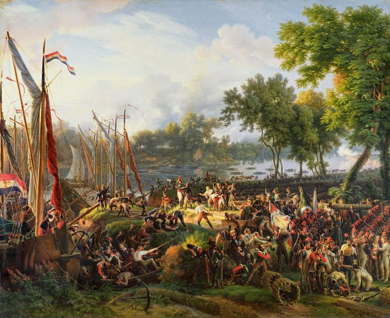 The French Army crossing the Rhine at Dusseldorf 6th September 1795. Louis Lejeune