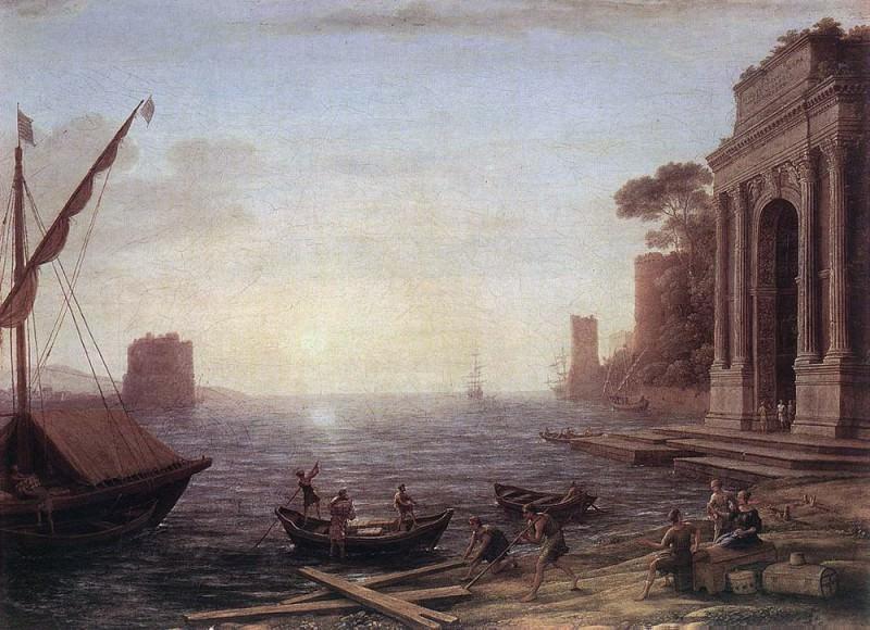 A Seaport at Sunrise. Claude Lorrain