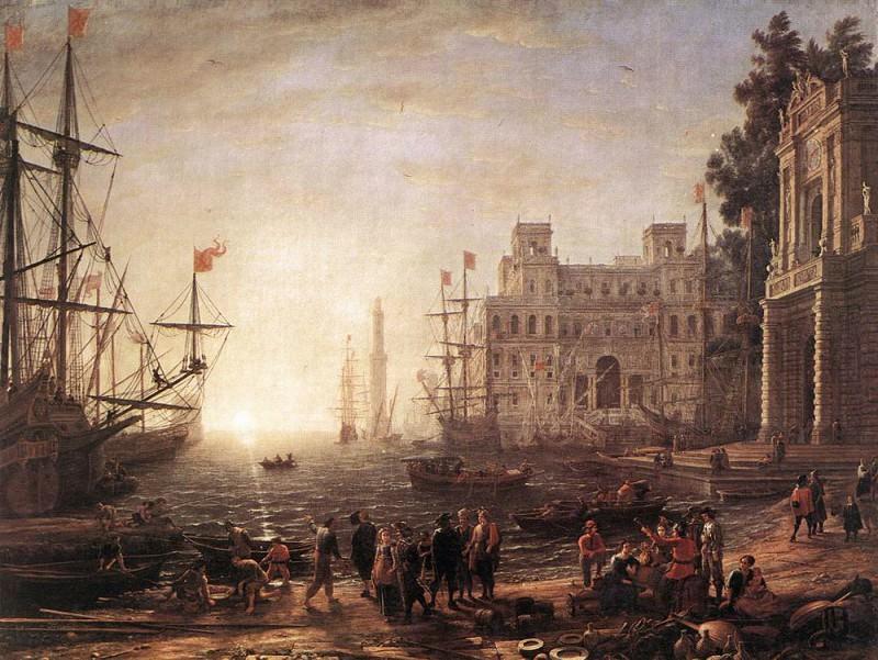 Port Scene with the Villa Medici. Claude Lorrain