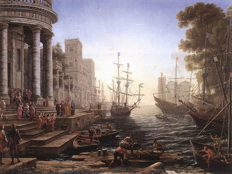 Port Scene with the Embarkation of St Ursula. Claude Lorrain