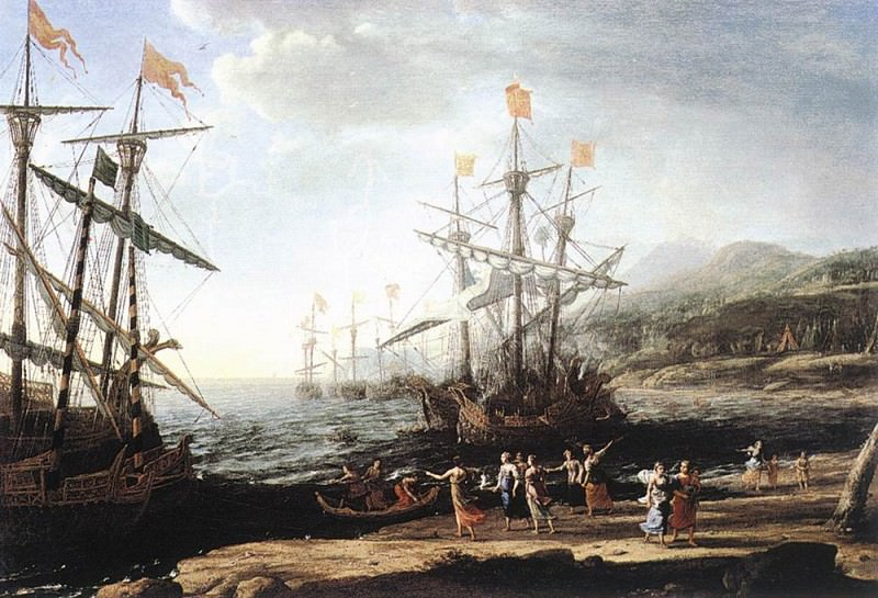 Marine with the Trojans Burning their Boats. Claude Lorrain