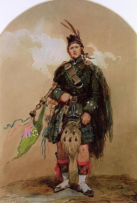 A Piper of the 79th Highlanders at Chobham Camp in 1853. Eugene-Louis Lami