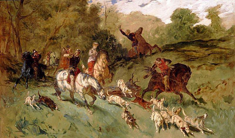 Mary Stuart hunting. Eugene-Louis Lami