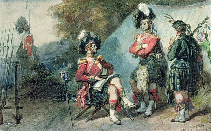 Officers of the 79th Highlanders at Chobham Camp in 1853. Eugene-Louis Lami
