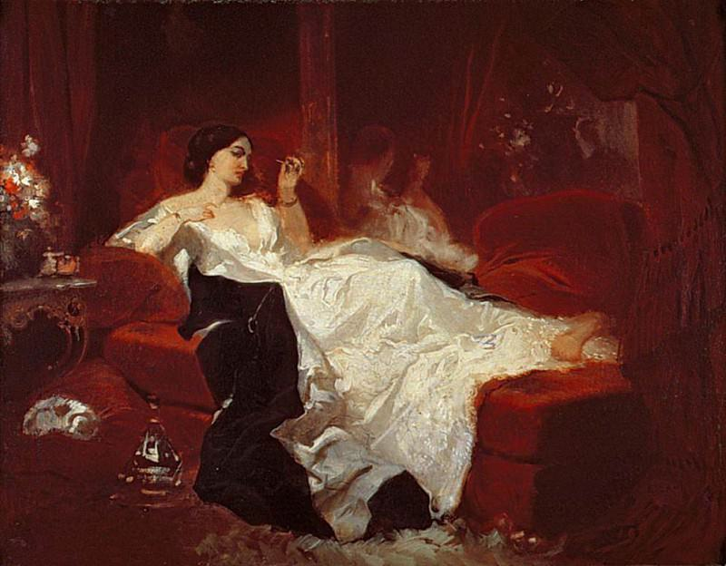 Woman on a red sofa. Eugene-Louis Lami