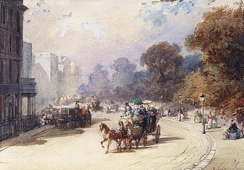 A Carriage in a London Street. Eugene-Louis Lami