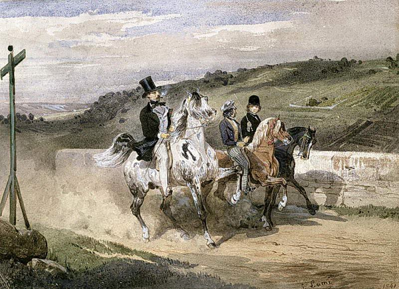 Horace Vernet and his Children Riding in the Country. Eugene-Louis Lami
