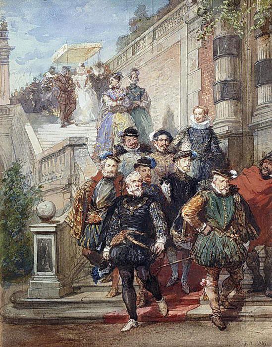 A Royal Procession descending a Stairway in a Garden. Eugene-Louis Lami