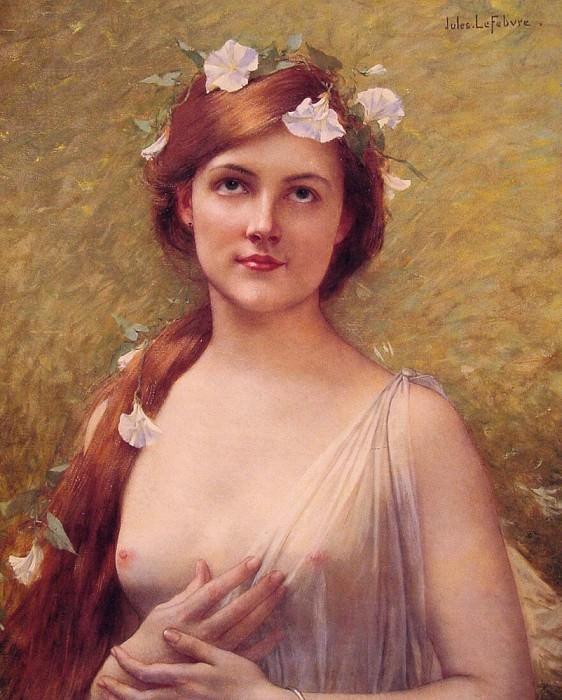 Девушка с цветками ипомеи в волосах. Жюль-Жозеф Лефевр