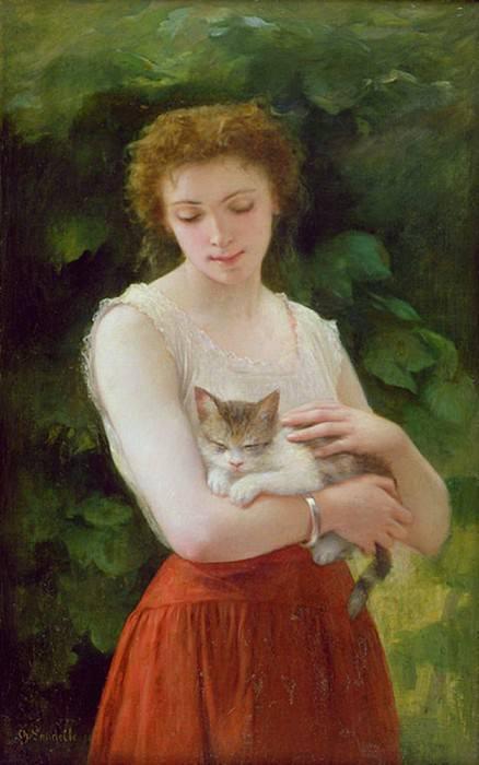 Country Girl and her Kitten. Charles Zacharie Landelle
