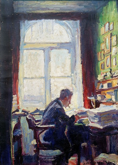 The poet Caesar Flaischlen at the desk. Heinrich Eduard Linde-Walther