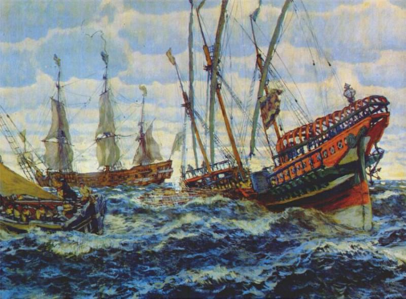 lanceray ships from the age of peter the great 1911. Лансере