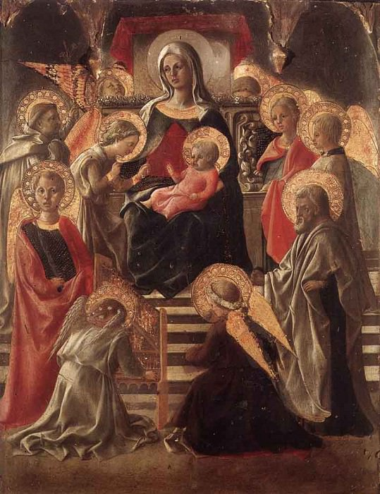 Madonna And Child Enthroned With Saints. Fra Filippo Lippi