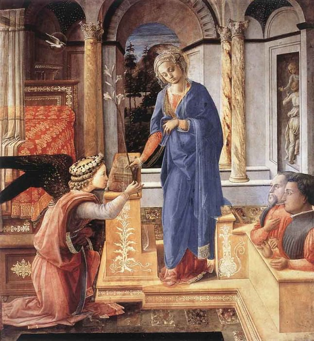 The Annunciation Wih Two Kneeling Donors. Fra Filippo Lippi