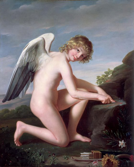 Cupid sharpening his arrows. Robert Lefevre