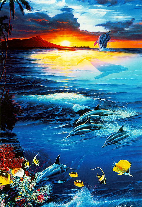 kb Lassen Greeting Cards Dawn of the Dolphin. Christian Riese Lassen