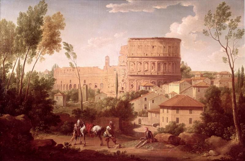 A View of the Colosseum with a Traveller. Hendrik van Lint