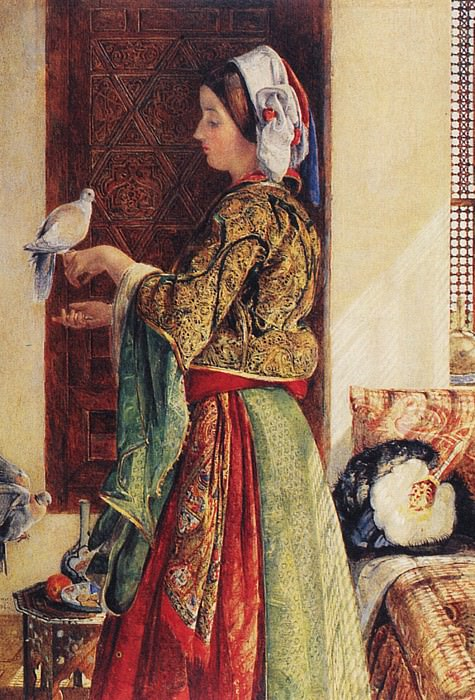 Lewis John Frederick Girl with Two Caged Doves. John Frederick Lewis