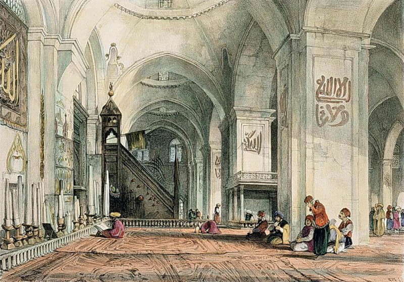 Great Mosque at Brussa, plate 24 from Illustrations of Constantinople. John Frederick Lewis