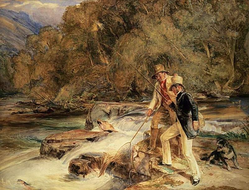 Landseer and Lewis Fishing. John Frederick Lewis