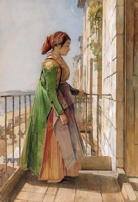 A Greek Girl Standing on a Balcony. John Frederick Lewis