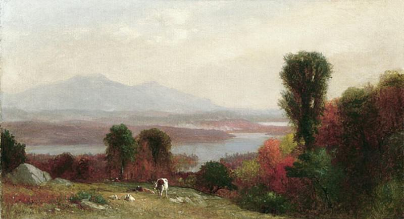 Cows and Sheep Grazing in an Autumn River. Homer Dodge Martin