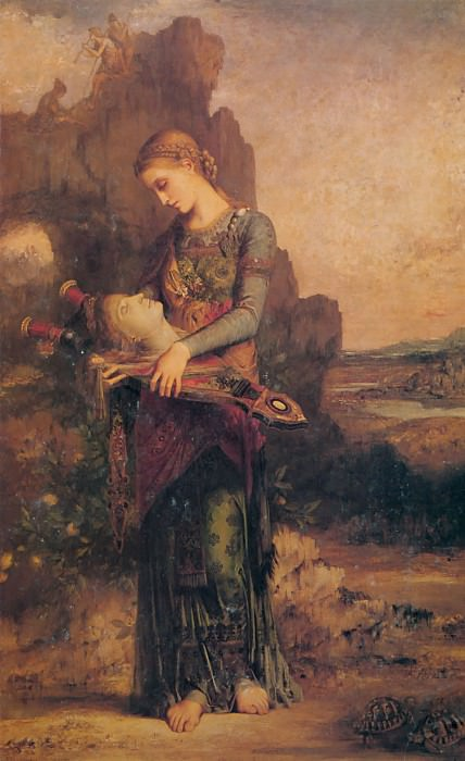 Thracian girl carrying the head of Orpheus on his lyre 1865. Gustave Moreau