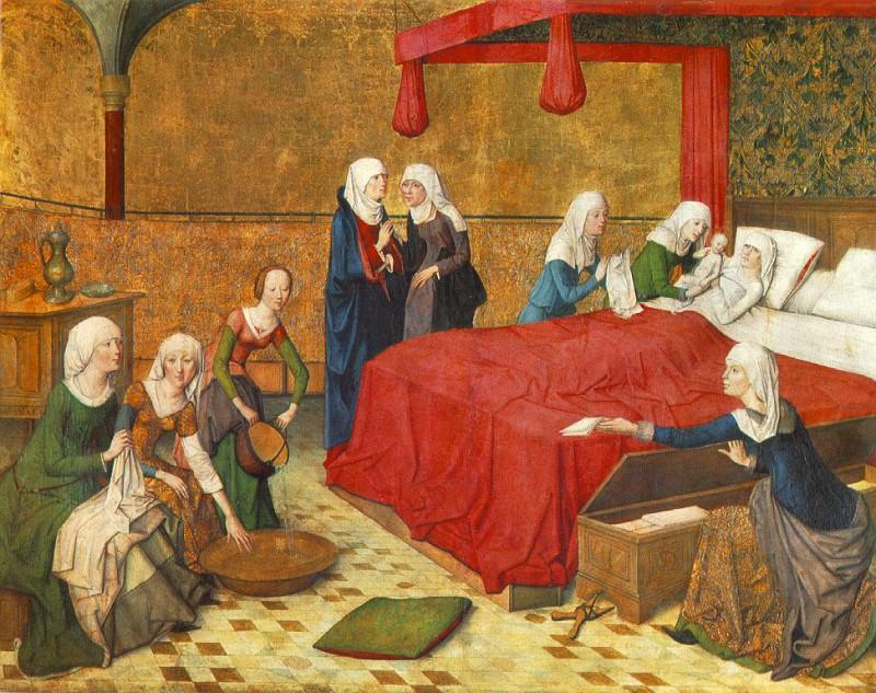MEISTER DES MARIENLEBENS THE BIRTH OF MARY, ALTE PINAKOTHEK. Мейстер Дес Мариенлебенс