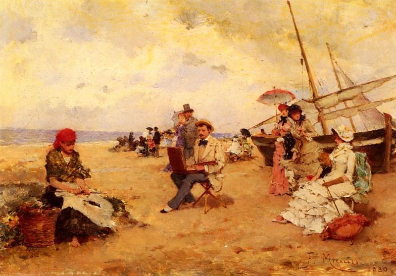 The Artist Sketching On A Beach. Francisco Miralles