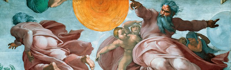 The Creation of the Sun and Moon (fragment). Michelangelo Buonarroti