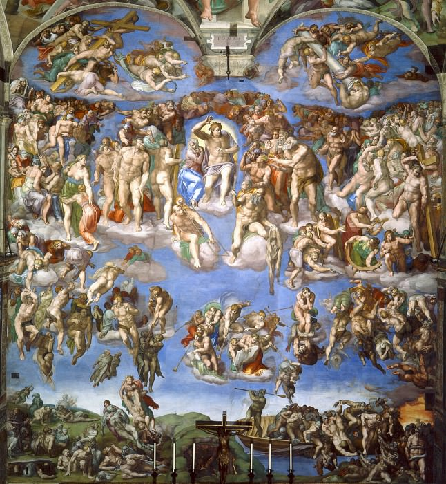 Last Judgement (after restoration 1990-94). Michelangelo Buonarroti