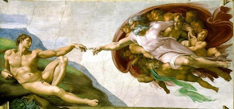 Creación de Adám. Michelangelo Buonarroti