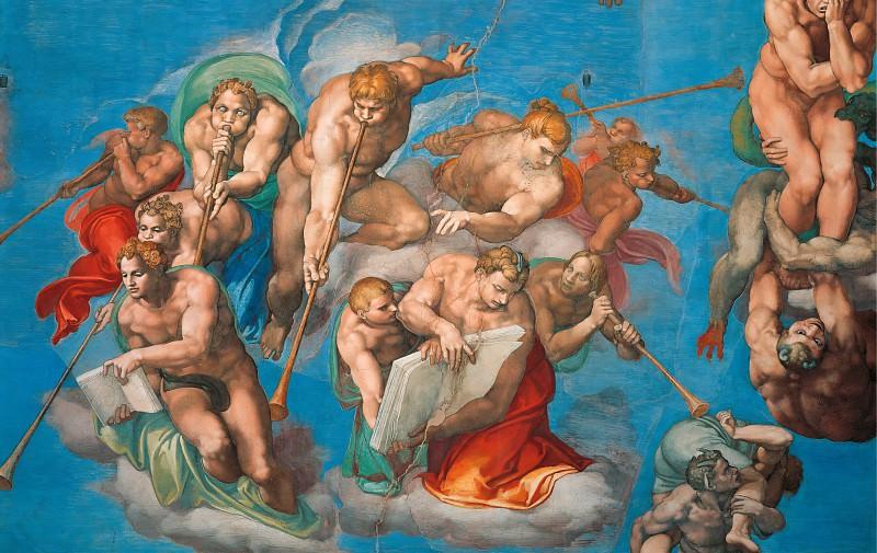 Страшный суд (фрагмент, после реставрации 1990-94). Микеланджело Буонарроти
