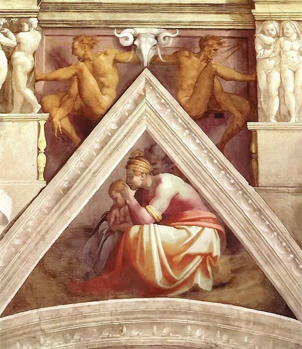 Solomon with his parents. Michelangelo Buonarroti