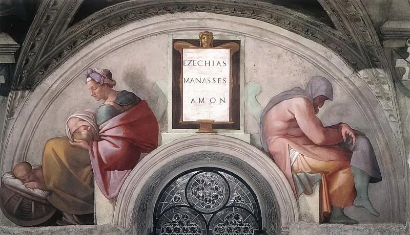Hezekiah - Manasseh - Amon. Michelangelo Buonarroti