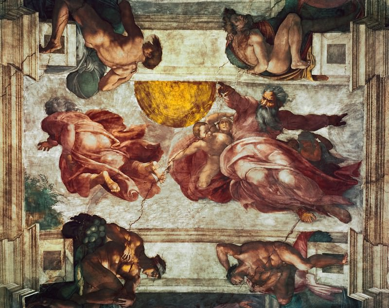 Creation of the Sun and Moon. Michelangelo Buonarroti