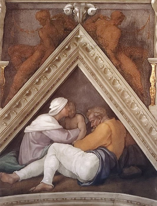 Семья Иехонии с его сыном Салафиилем. Микеланджело Буонарроти