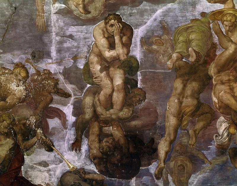 Страшный суд (фрагмент, до реставрации 1990-94). Микеланджело Буонарроти