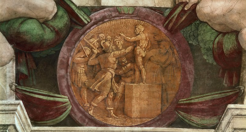 Medallion - Destruction of the Statue of the God Baal. Michelangelo Buonarroti