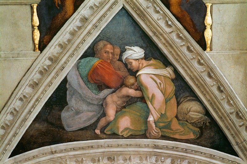 Uzziah, his mother, his father Jotham, and one of his brothers. Michelangelo Buonarroti