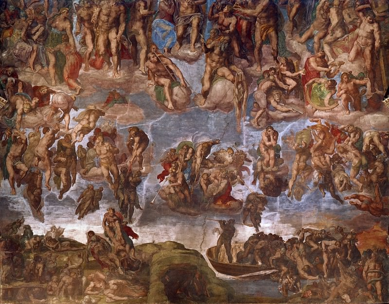 Last Judgement (fragment, before restoration 1990-94). Michelangelo Buonarroti
