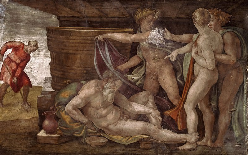 Drunkenness of Noah. Michelangelo Buonarroti