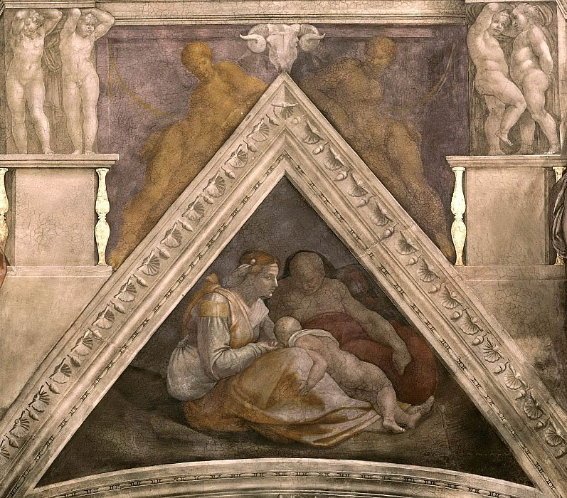 Zerubbabel together with his parents and a brother. Michelangelo Buonarroti