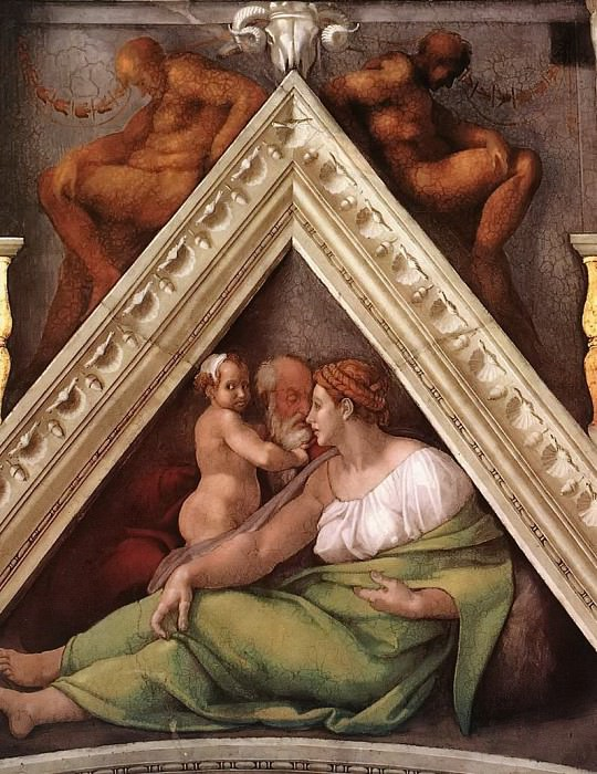 Hezekiah with his mother and his father Ahaz. Michelangelo Buonarroti